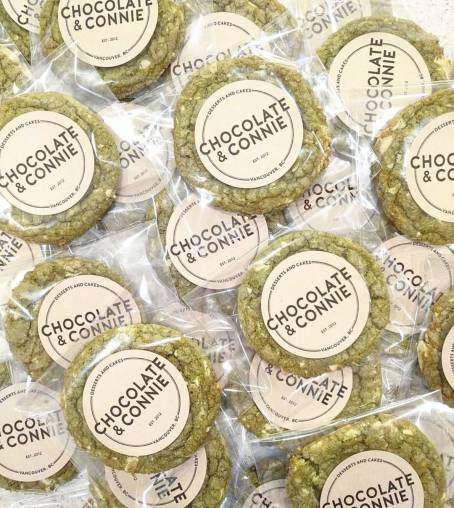 packaged matcha white chocolate cookies