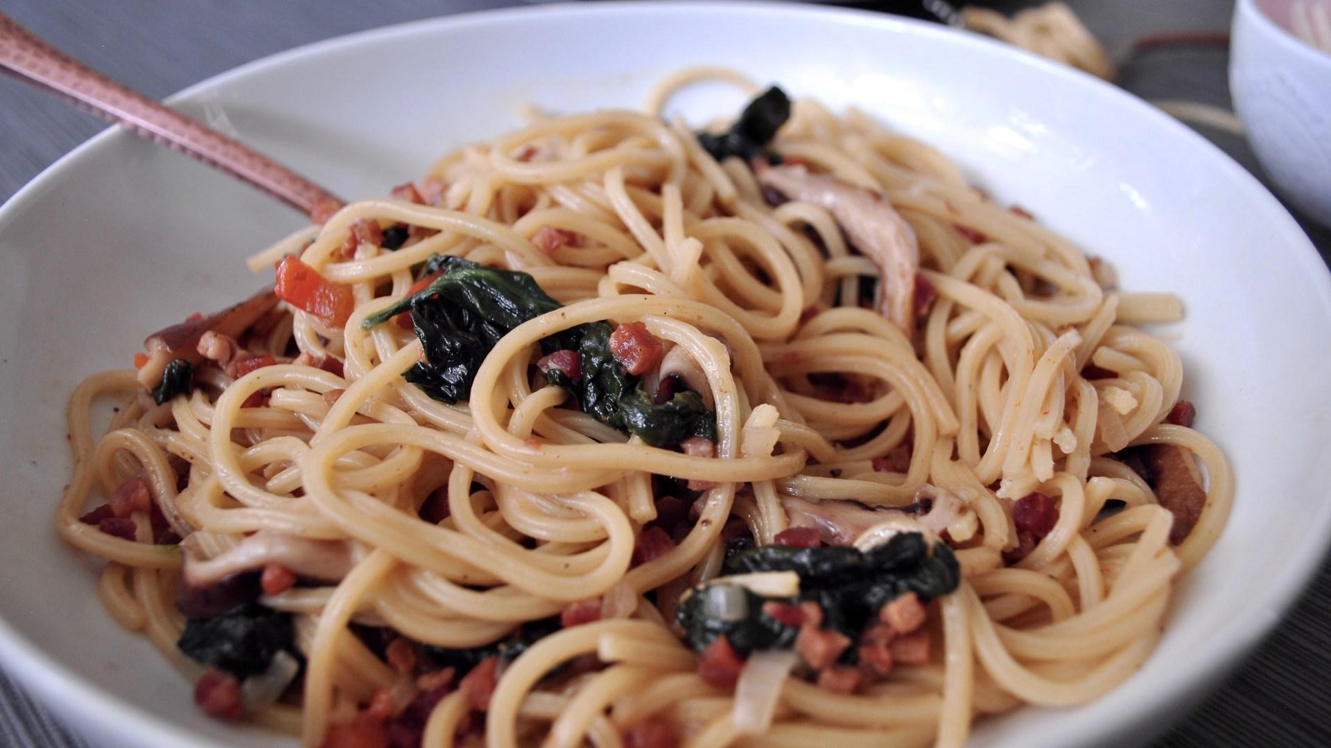 Spicy Shiitake and Pancetta Pasta