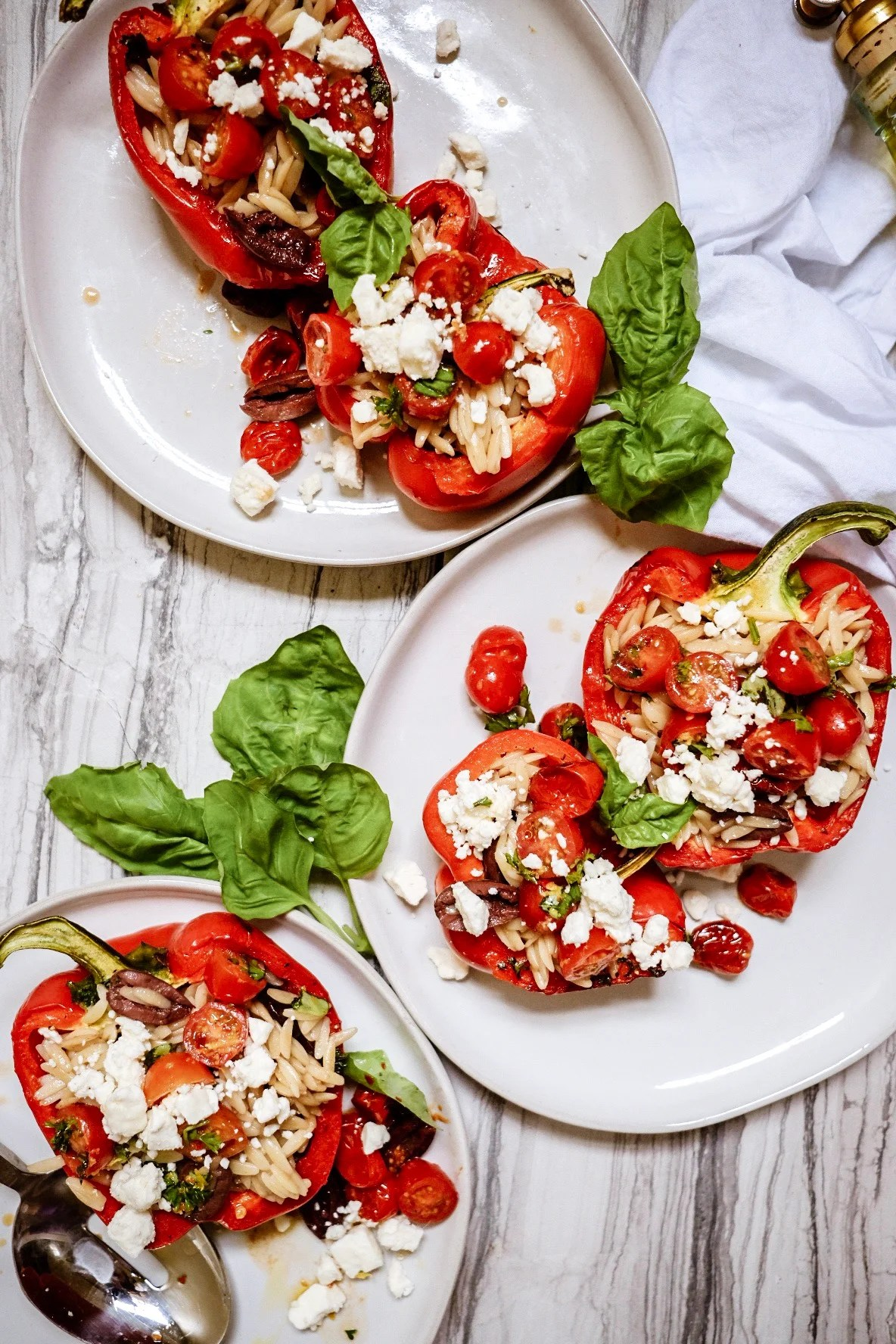Mediterranean Roasted Red Stuffed Peppers