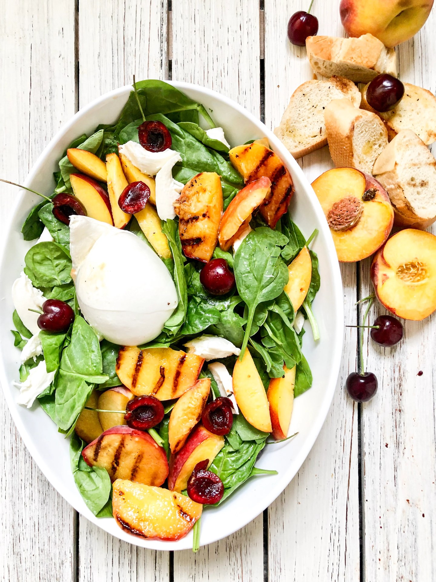 Grilled Peach and Buratta Salad