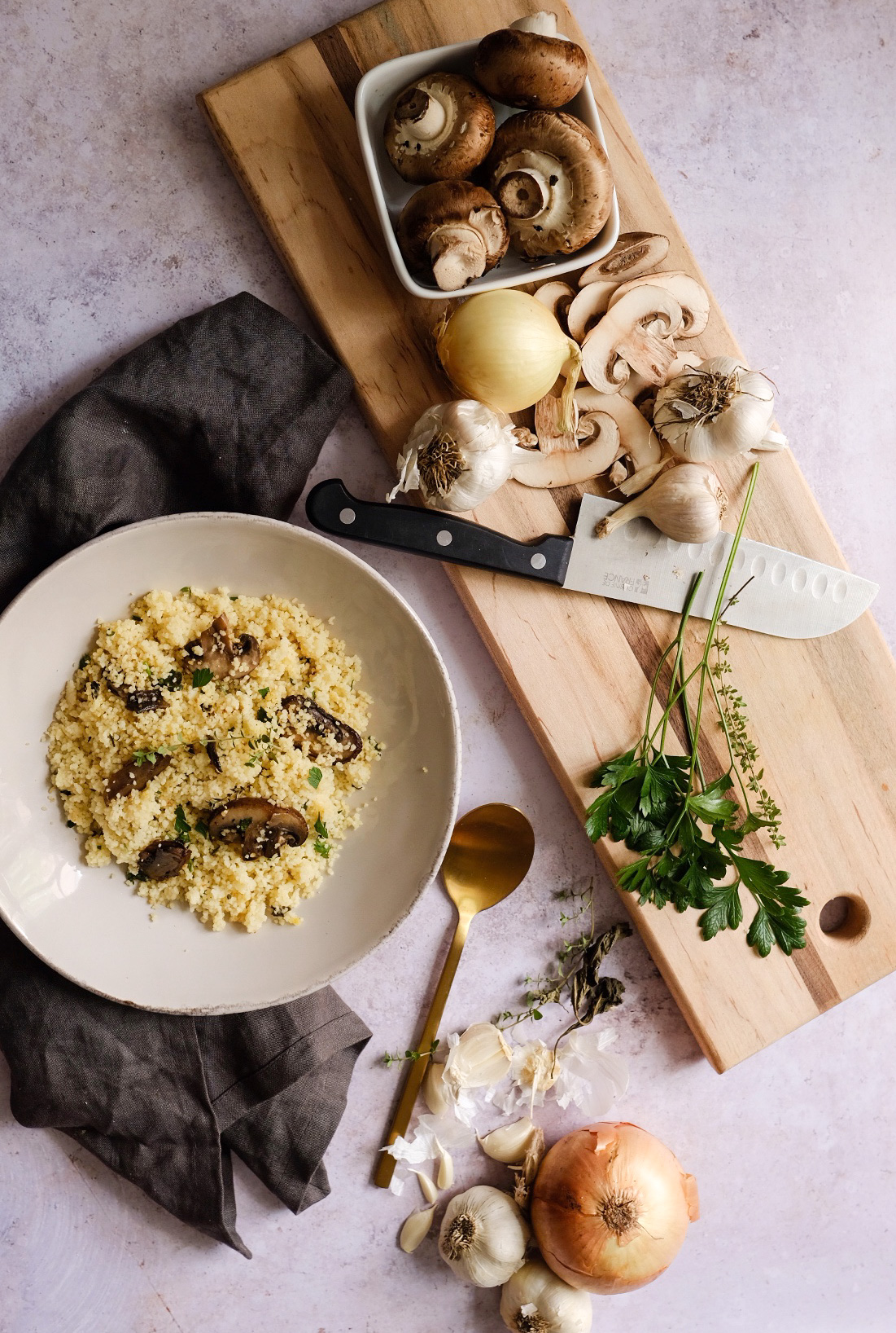 Lifestyle Blogger Chocolate and Lace shares her recipe for the Best Mushroom Herb Couscous.
