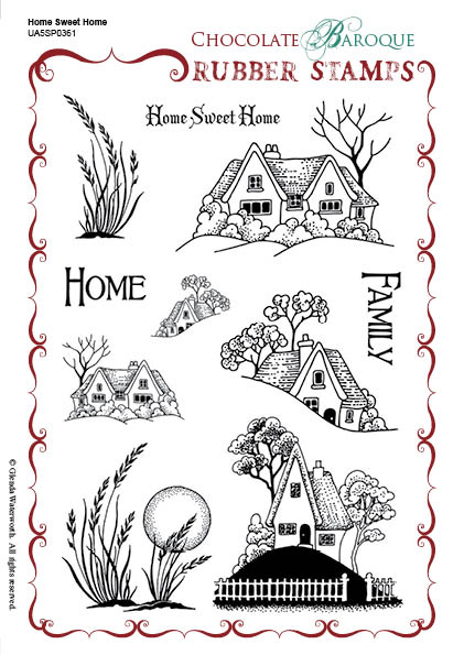 Home Sweet Home Rubber Stamp Sheet A5 Chocolate Baroque