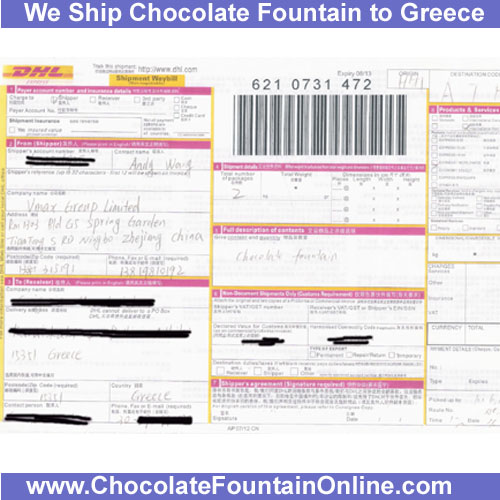 We ship chocolate fountain to Greece