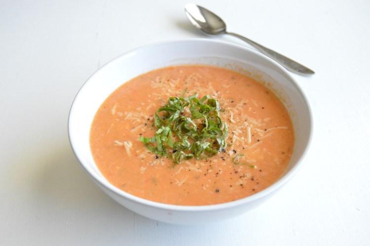 Roasted Tomato Basil Chicken Soup