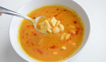 Roasted Butternut Squash Soup with Chicken and White Beans