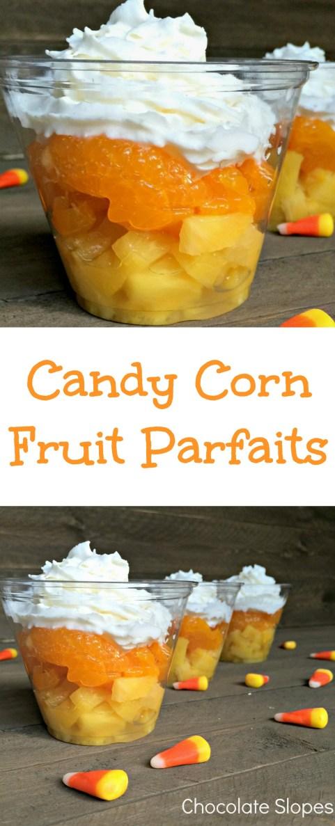 Candy Corn Fruit Parfaits Halloween