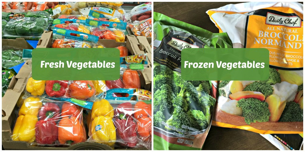 frozen and fresh vegetables from Sam's Club