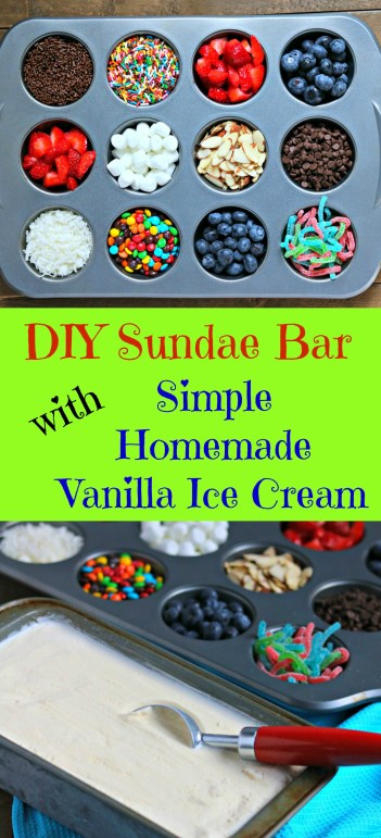 vanilla homemade ice cream with sundae bar