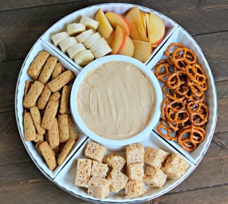 healthy peanut butter yogurt fruit dip