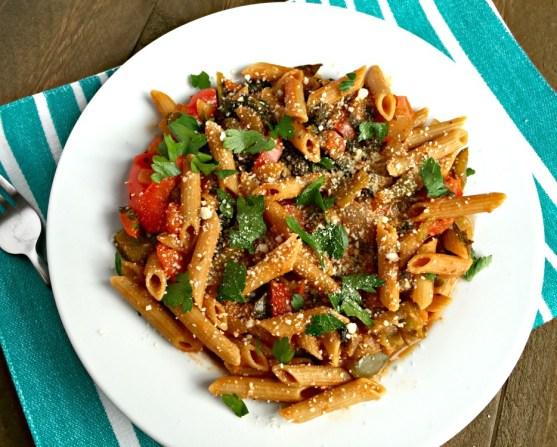 one pot kale pasta whole grains