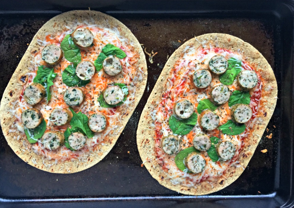Chicken Sausage Mozzarella Flatbread Pizza