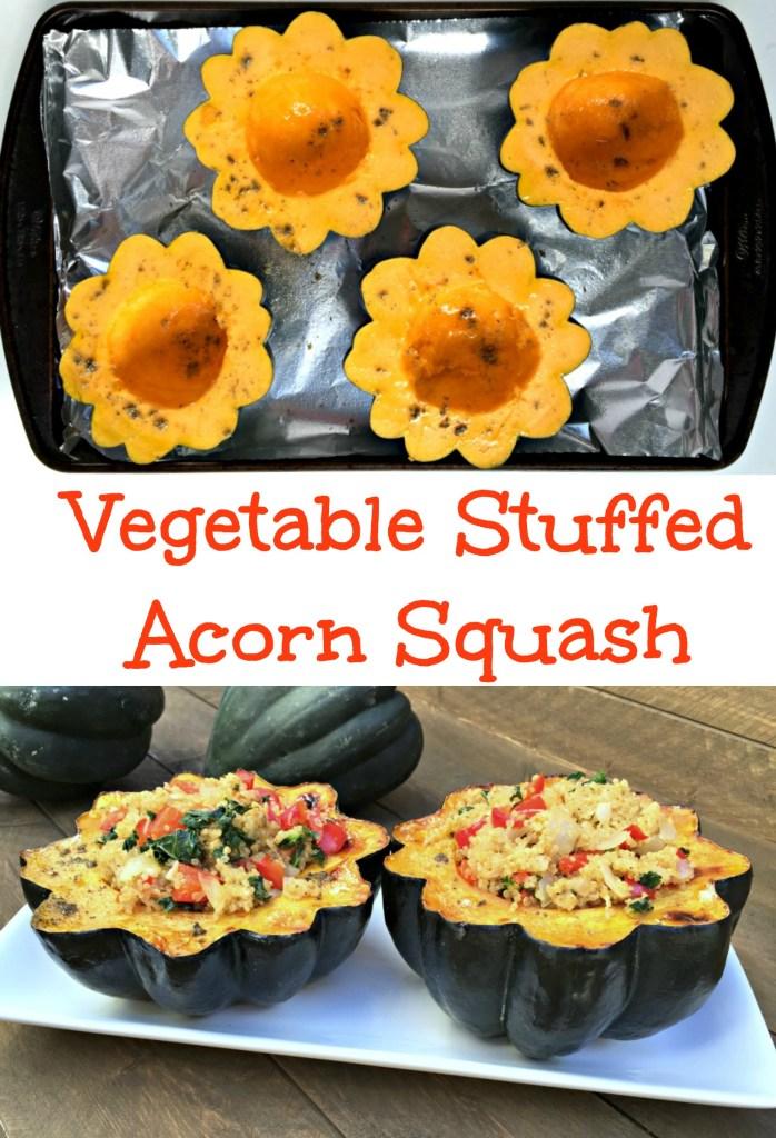 Vegetable stuffed acorn squash holiday side dish