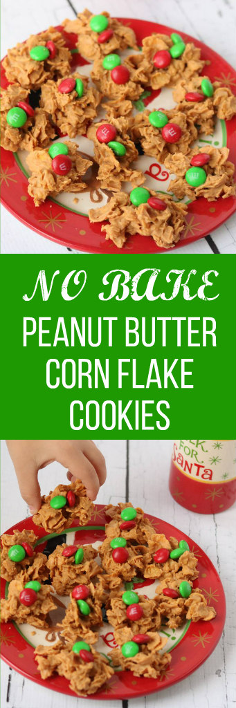 Christmas no bake peanut butter corn flake cookies