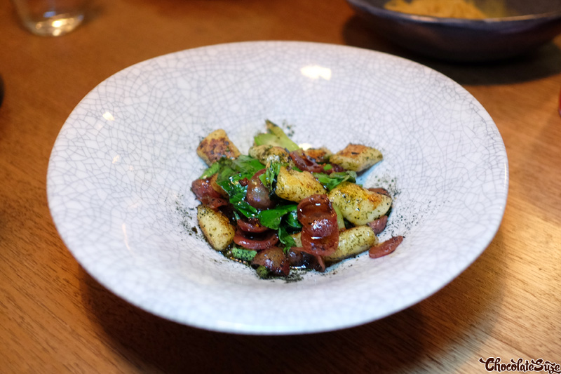 Potato gnocchi, lap cheong, chilli, kombu butter at Bar Brosé, Darlinghurst