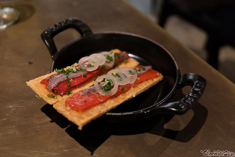 Ortiz anchovy tart, roasted bull horn's at Mercado Restaurant, Sydney