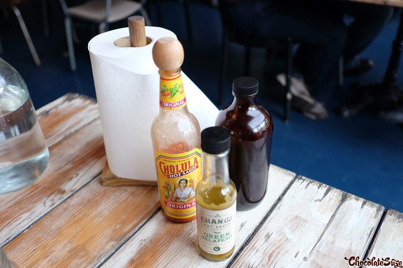 Barbecue sauces at Bluebonnet Barbecue, North Fitzroy