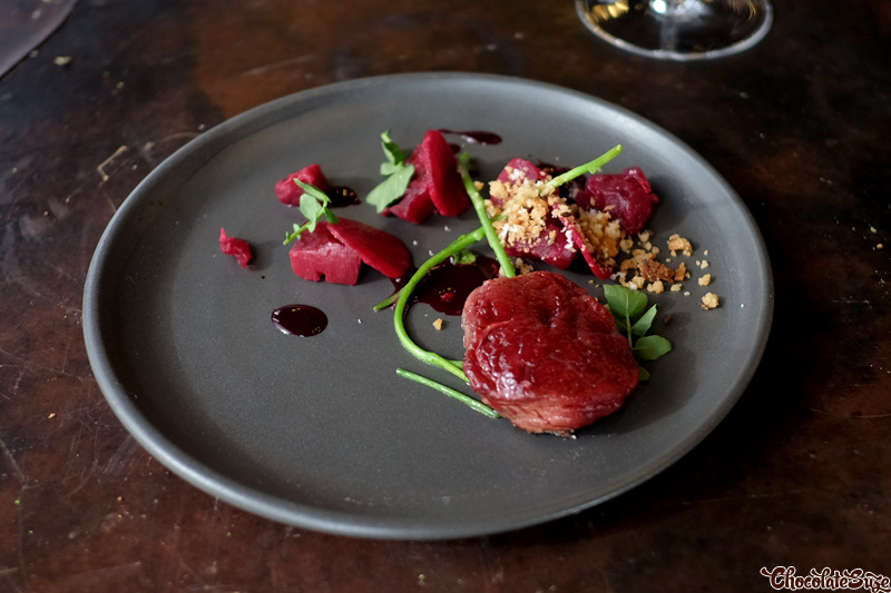Red Kangaroo loin, beetroot, rye, horseradish at Vue de monde, Melbourne