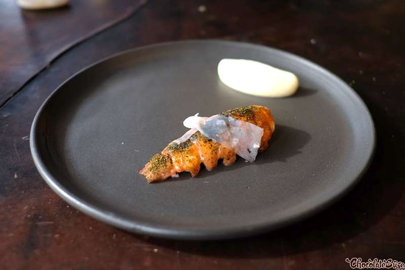 Marron tail, squid, seaweed and chicken emulsion at Vue de monde, Melbourne