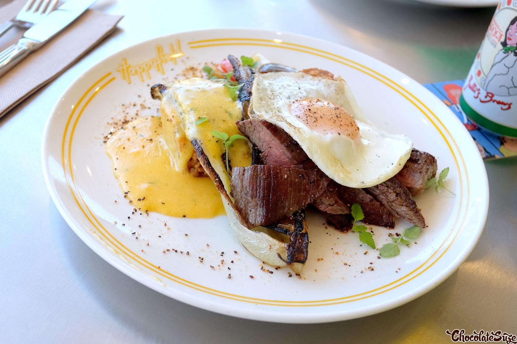 Steak and eggs at Happyfield, Haberfield