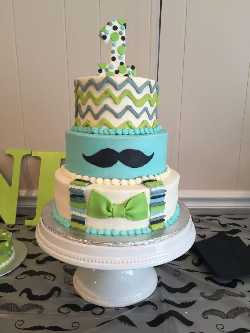 Little Man Moustache Birthday Cake