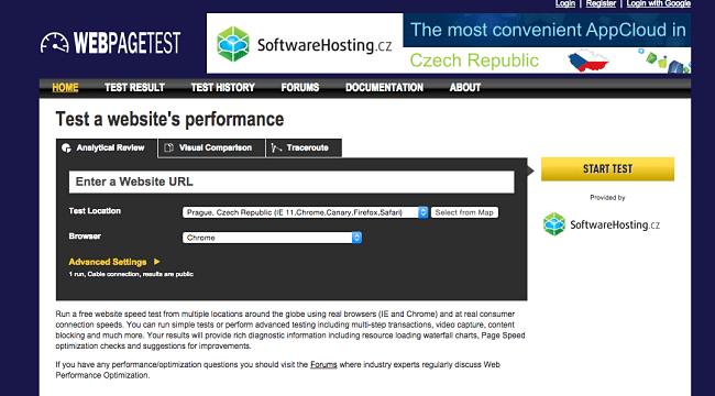 Webpage Test - rýchlosť a výkonnosť