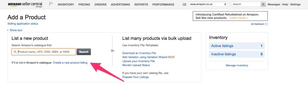 New product listing - Amazon