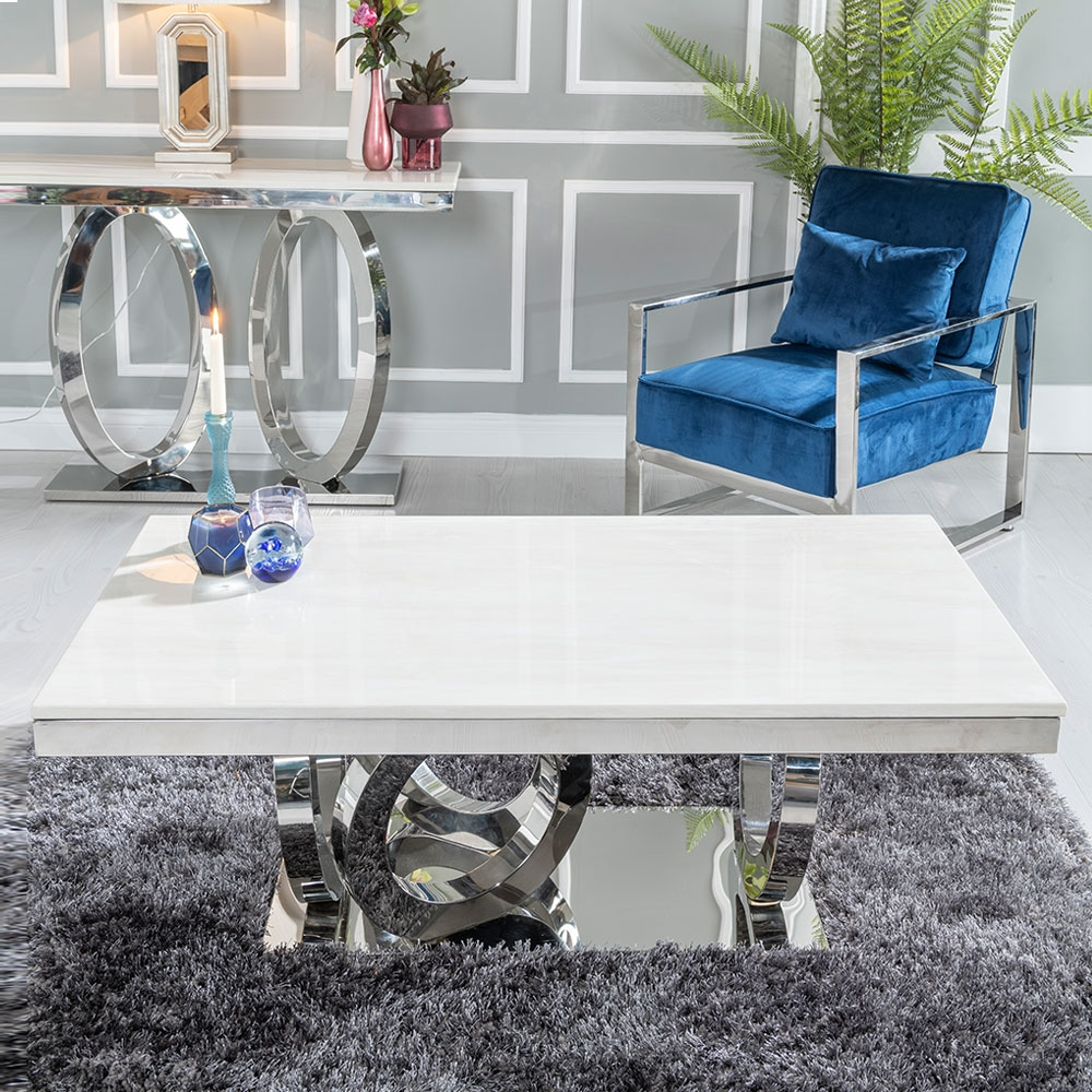 urban deco orbit cream marble and chrome coffee table cfs furniture uk