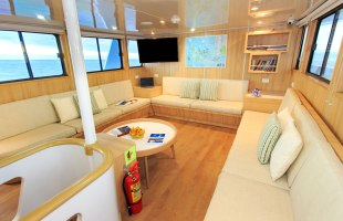 Lounge area on Aqua Yacht