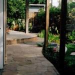 new flagstone deck for escondido small backyard landscape design