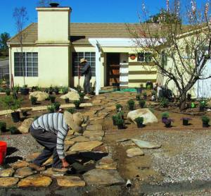 front yard renovation in Ramona landscape