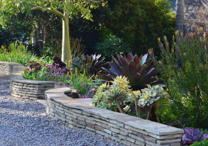 low hand built retaining wall