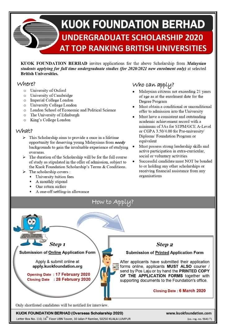 Kuok Foundation Berhad Scholarships Chong Hwa Independent High School