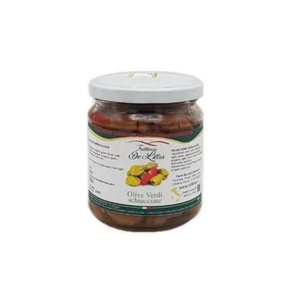 Olive verdi schiacciate – 250 gr – Fattoria de Lillas