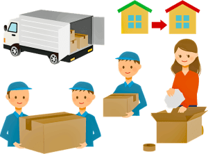 Woman packing box, men carrying boxes