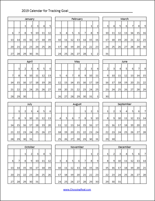 Using this 2019 habit tracker can help you meet your daily goals this year. Simply print the1-page calendar and mark off each day you meet your daily goal.