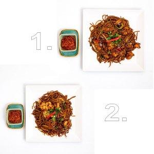 Egzotikus citromfüves csípős wok extra tésztával (garnélarák, csirke ) - 2 személyes
