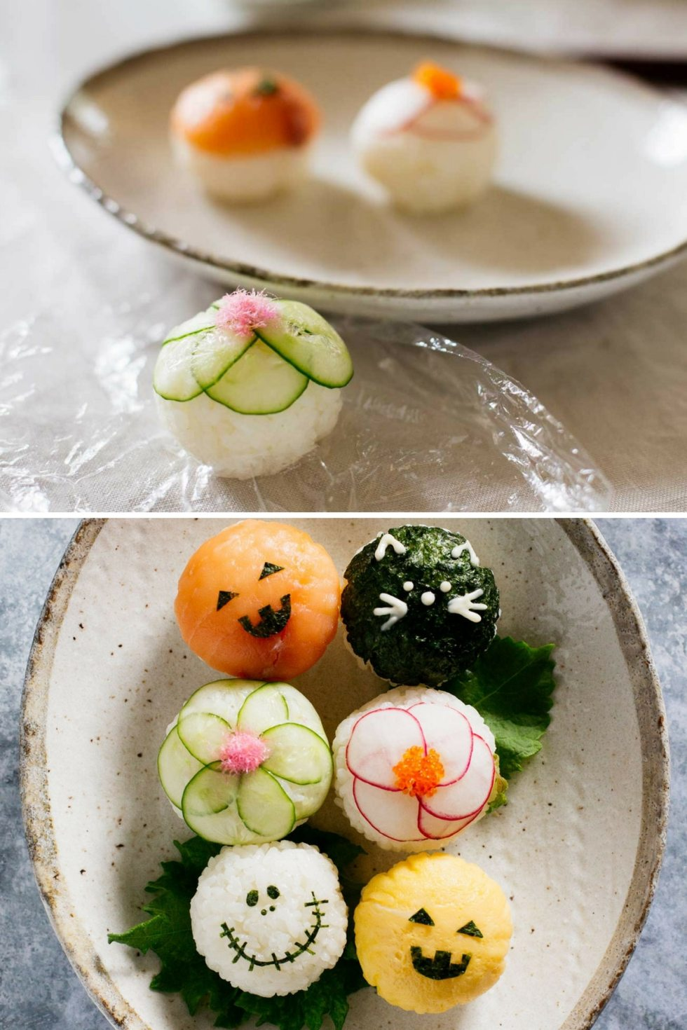 a cling wrap removed temari sushi topped with fish roe