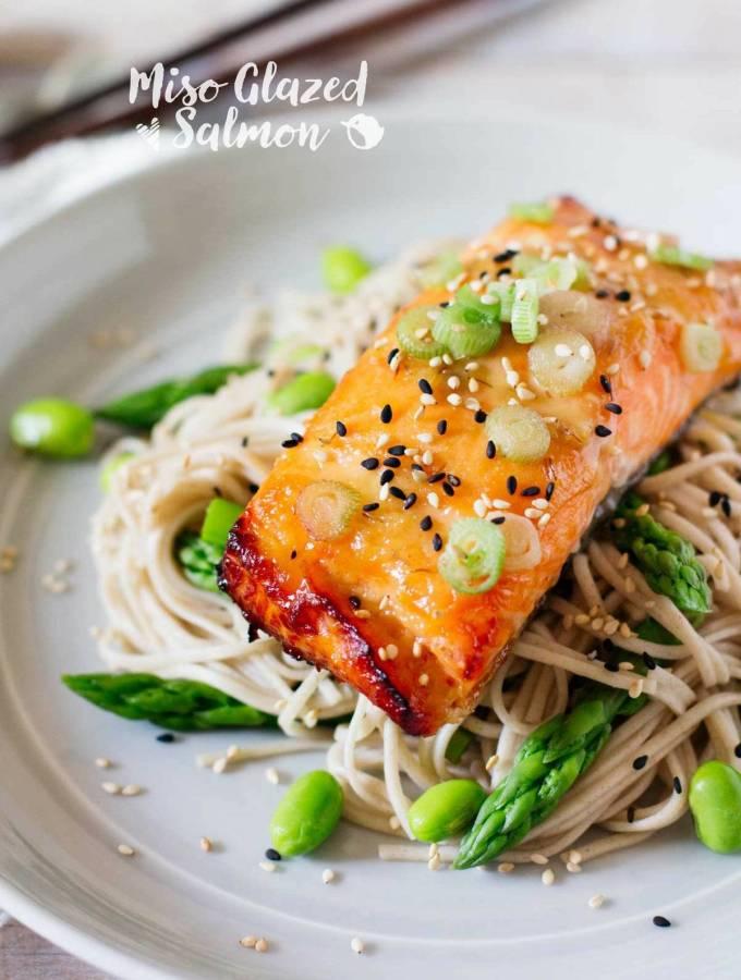 Miso glazed Salmon with soba noodles 味噌サーモン
