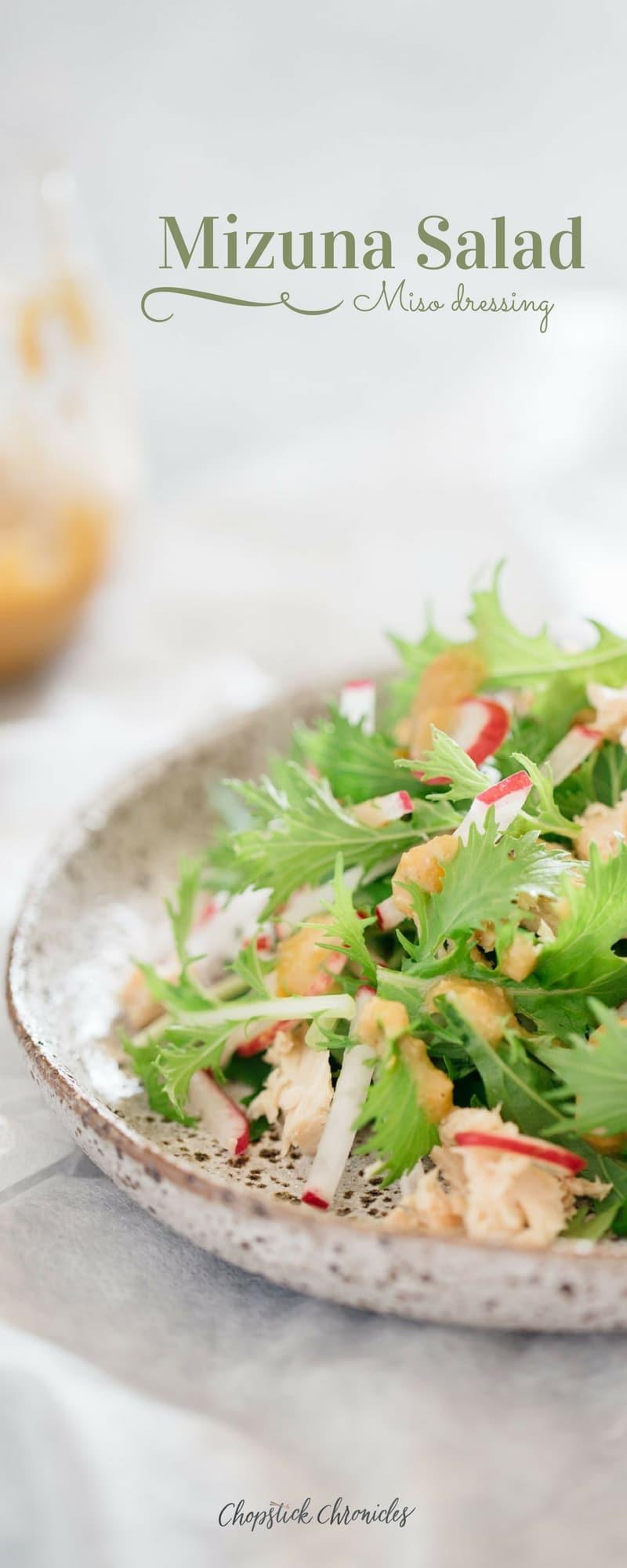 Mizuna Salad miso dressing