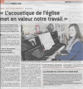 Emmanuelle Devignaud - Le Progrès - 30 mars 2016