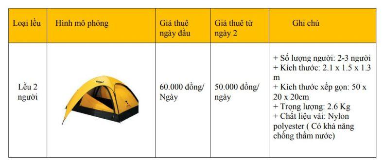 Bảng giá thuê lều 2 người