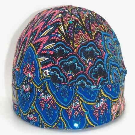 GLIDE Sparkle Print: Peacock-Neon-Blue-and-Pink-with-Blue-Sparkles