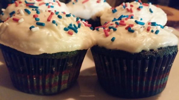 Blue Velvet Cupcakes with Cream Cheese Buttercream Frosting
