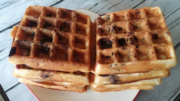 Make Ahead Blueberry Waffles