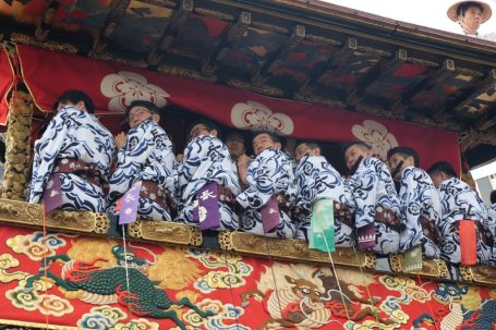 Flute players in the hoko float...