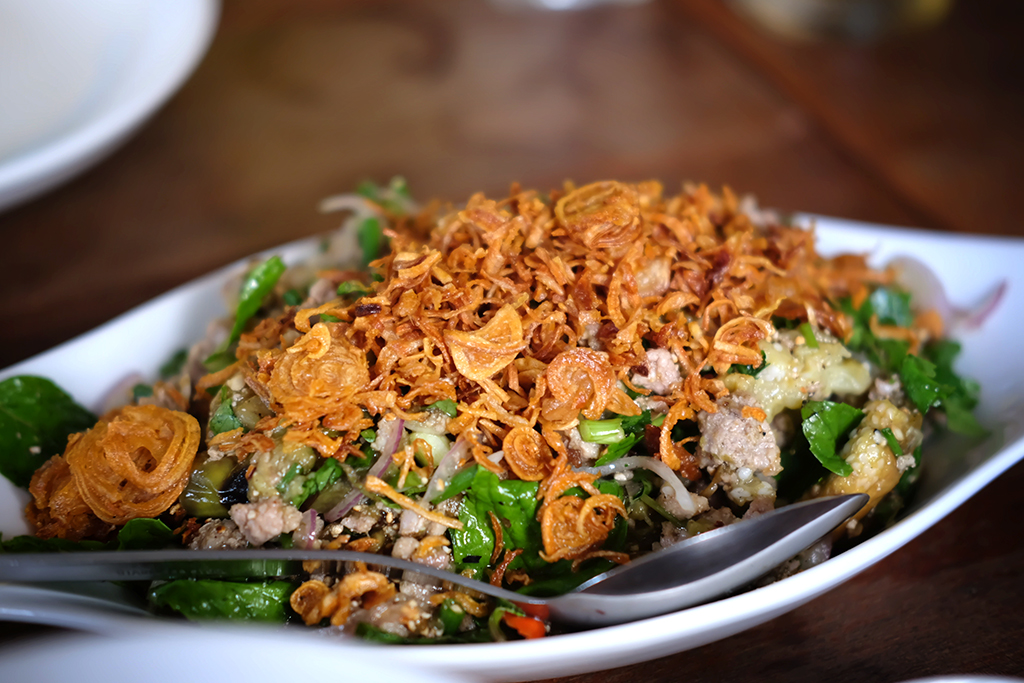 Roasted Aubergine and pork salad at Doi Ka Noi