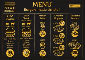 STAX Burger Bangkok Menu