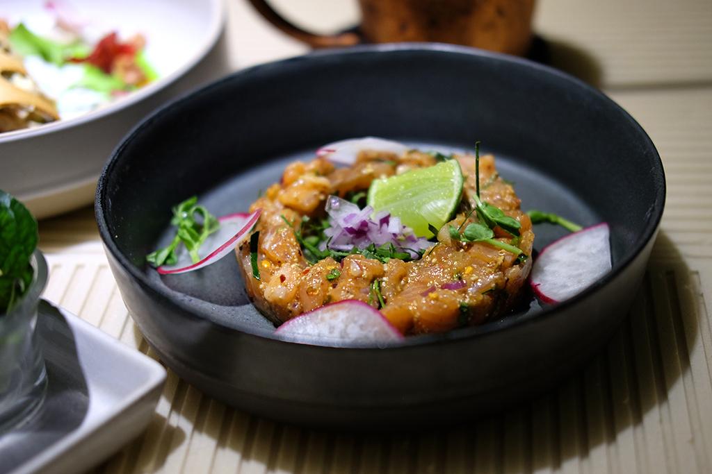 Larb Salmon starter at Indulge Bangkok
