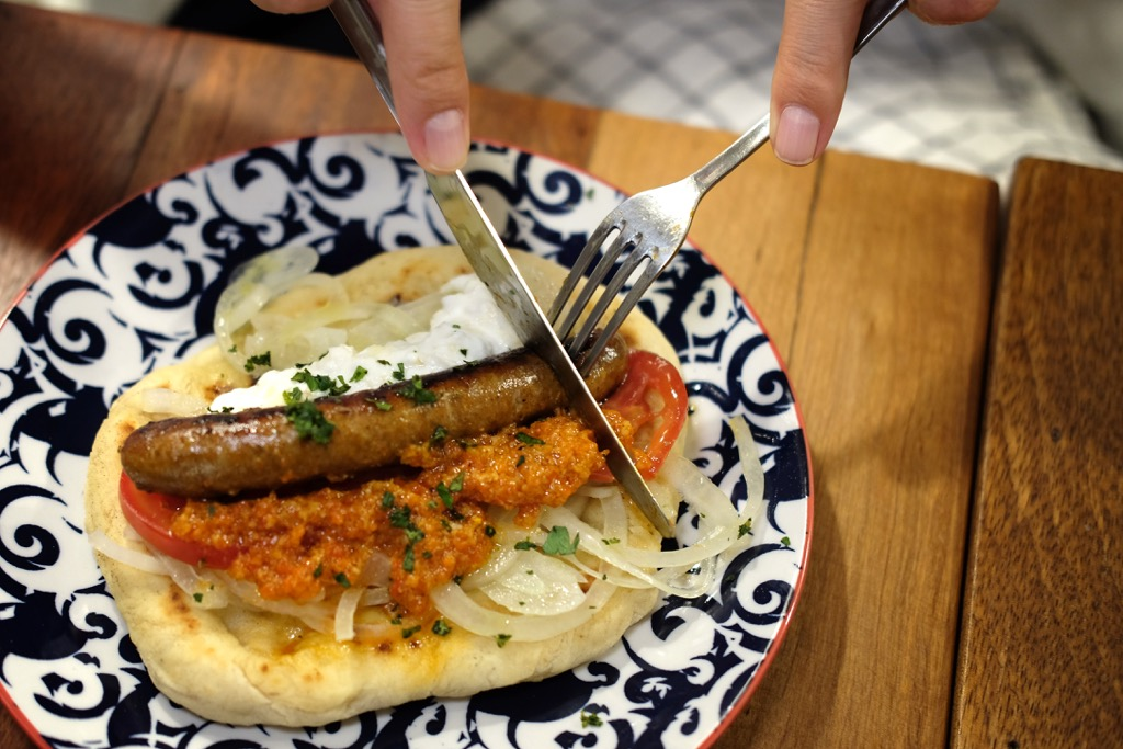 Merguez Sausage on Flatbread at Biscuit Bar Bangkok