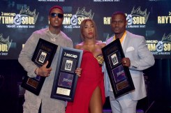 BEVERLY HILLS, CA - JUNE 22: (L-R) Jeremih, Sevyn Streeter and Needlz pose with awards at the ASCAP 2017 Rhythm & Soul Music Awards at the Beverly Wilshire Four Seasons Hotel on June 22, 2017 in Beverly Hills, California. (Photo by Lester Cohen/Getty Images for ASCAP)